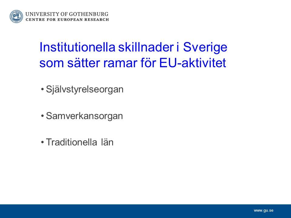 www.gu.se Institutionella skillnader i Sverige som sätter ramar för EU-aktivitet Självstyrelseorgan Samverkansorgan Traditionella län