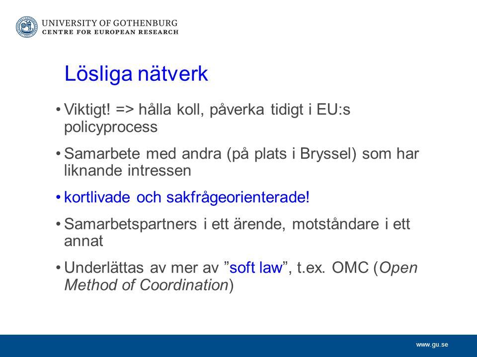 www.gu.se Lösliga nätverk Viktigt.