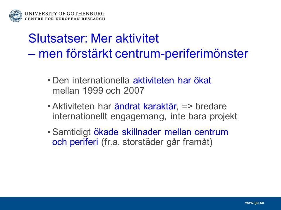 www.gu.se Slutsatser: Mer aktivitet – men förstärkt centrum-periferimönster Den internationella aktiviteten har ökat mellan 1999 och 2007 Aktiviteten har ändrat karaktär, => bredare internationellt engagemang, inte bara projekt Samtidigt ökade skillnader mellan centrum och periferi (fr.a.