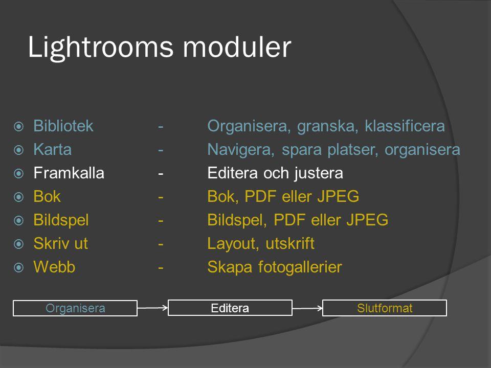 Lightrooms moduler  Bibliotek-Organisera, granska, klassificera  Karta-Navigera, spara platser, organisera  Framkalla-Editera och justera  Bok-Bok
