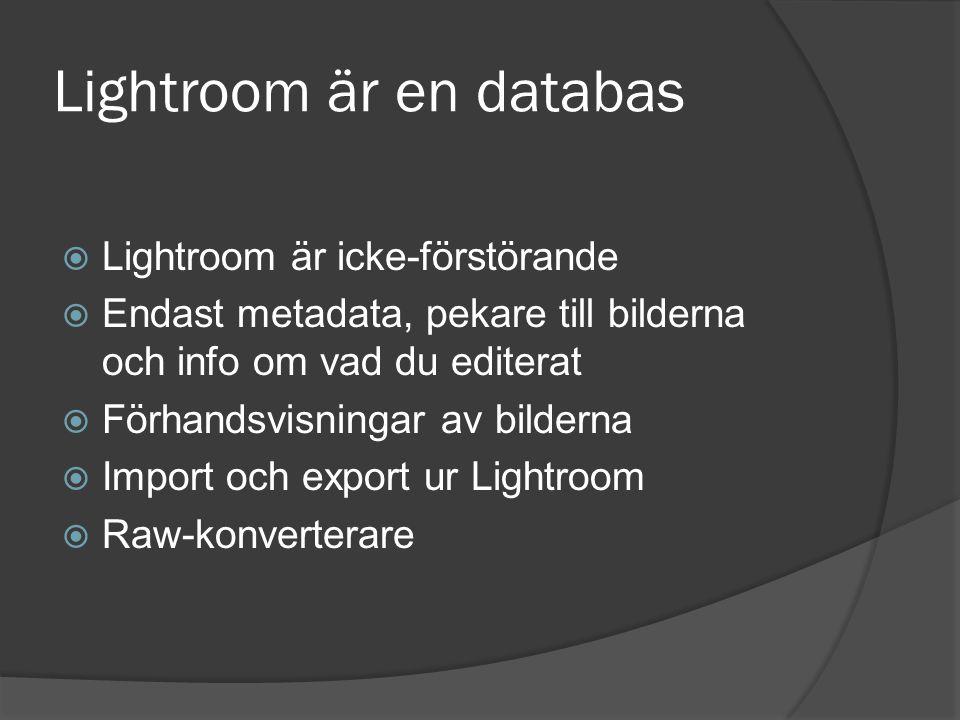 Lightroom är en databas  Lightroom är icke-förstörande  Endast metadata, pekare till bilderna och info om vad du editerat  Förhandsvisningar av bil