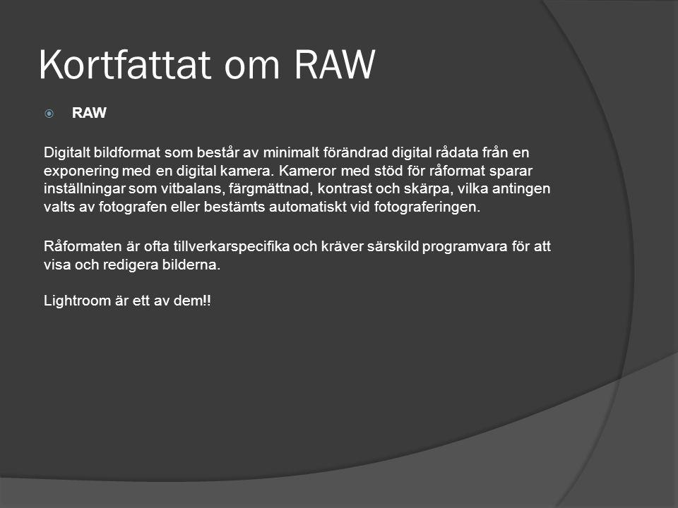 Kortfattat om RAW  RAW Digitalt bildformat som består av minimalt förändrad digital rådata från en exponering med en digital kamera. Kameror med stöd
