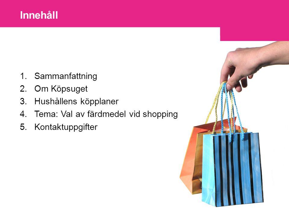 1.Sammanfattning 2.Om Köpsuget 3.Hushållens köpplaner 4.Tema: Val av färdmedel vid shopping 5.Kontaktuppgifter Innehåll