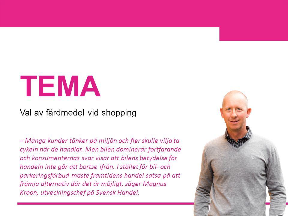 TEMA Val av färdmedel vid shopping ─ Många kunder tänker på miljön och fler skulle vilja ta cykeln när de handlar.