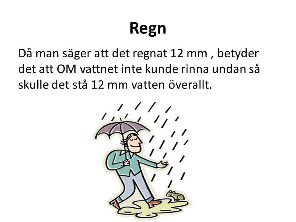 Regn Då man säger att det regnat 12 mm, betyder det att OM vattnet inte kunde rinna undan så skulle det stå 12 mm vatten överallt.