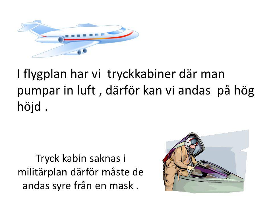 I flygplan har vi tryckkabiner där man pumpar in luft, därför kan vi andas på hög höjd. Tryck kabin saknas i militärplan därför måste de andas syre fr