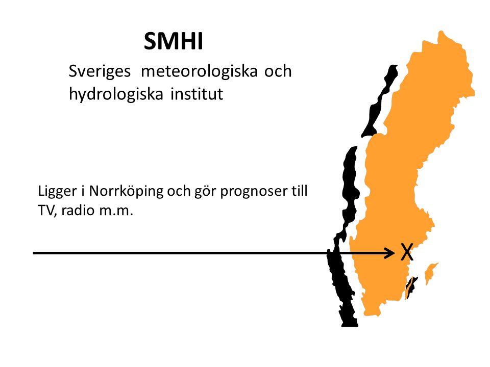 SMHI Ligger i Norrköping och gör prognoser till TV, radio m.m. Sveriges meteorologiska och hydrologiska institut X