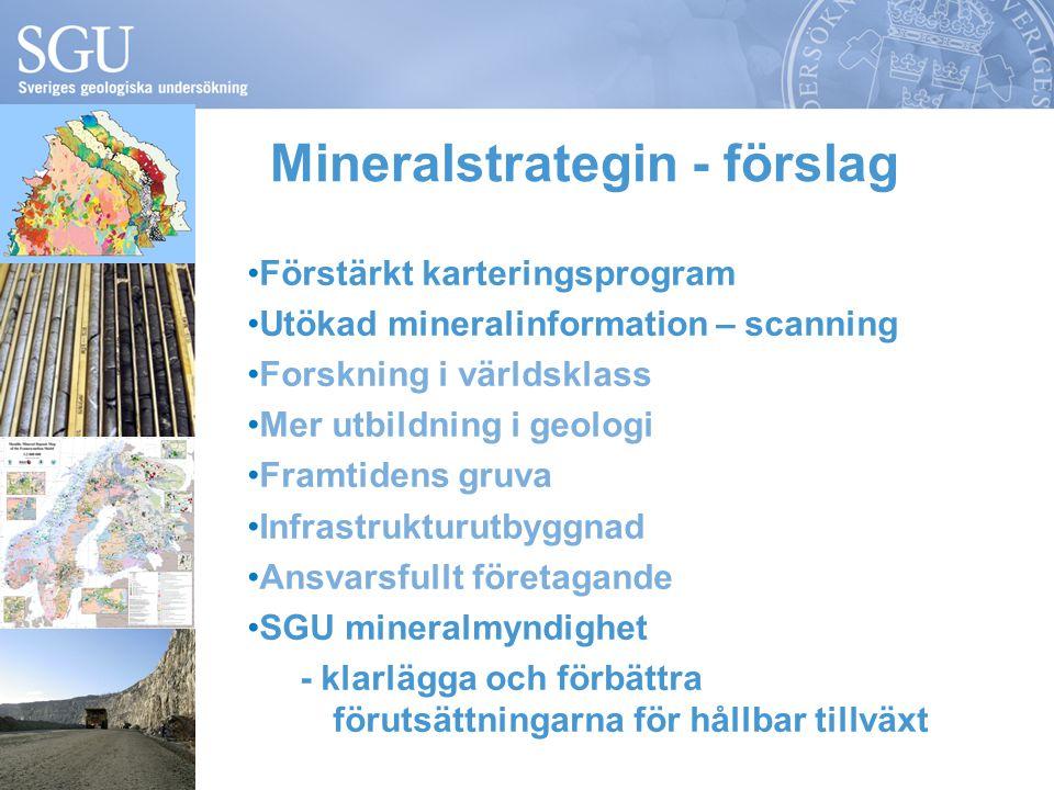 Förstärkt karteringsprogram Utökad mineralinformation – scanning Forskning i världsklass Mer utbildning i geologi Framtidens gruva Infrastrukturutbyggnad Ansvarsfullt företagande SGU mineralmyndighet - klarlägga och förbättra förutsättningarna för hållbar tillväxt Mineralstrategin - förslag