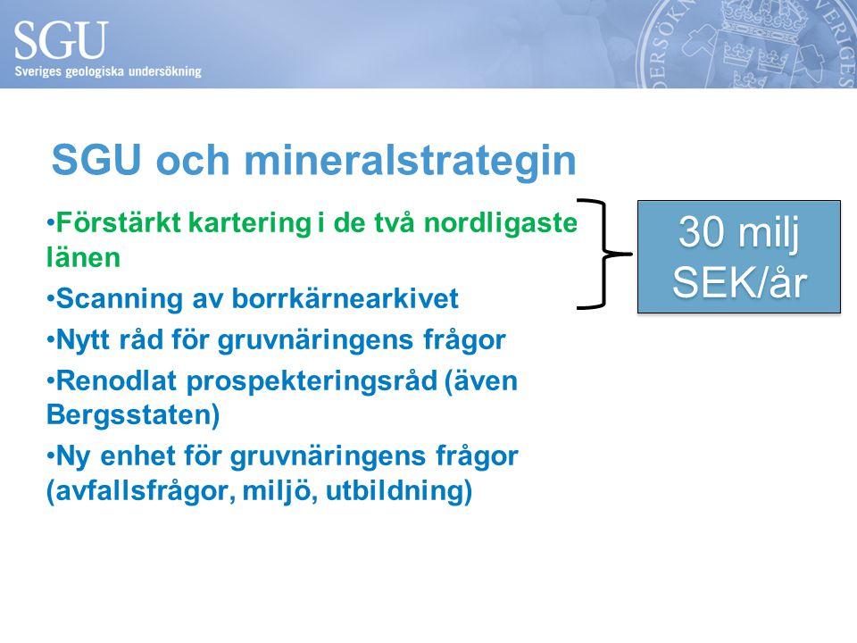 Förstärkt kartering i de två nordligaste länen Scanning av borrkärnearkivet Nytt råd för gruvnäringens frågor Renodlat prospekteringsråd (även Bergsstaten) Ny enhet för gruvnäringens frågor (avfallsfrågor, miljö, utbildning) SGU och mineralstrategin 30 milj SEK/år