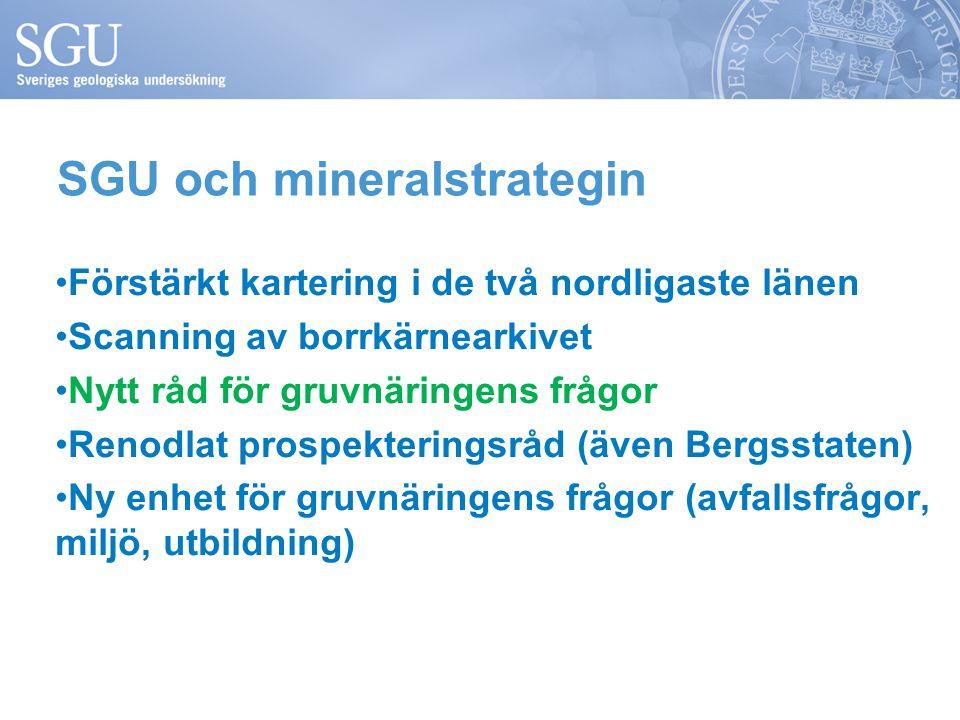 Förstärkt kartering i de två nordligaste länen Scanning av borrkärnearkivet Nytt råd för gruvnäringens frågor Renodlat prospekteringsråd (även Bergsstaten) Ny enhet för gruvnäringens frågor (avfallsfrågor, miljö, utbildning) SGU och mineralstrategin