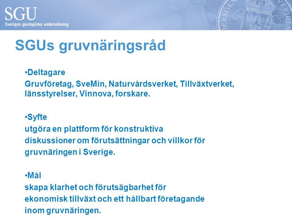 Deltagare Gruvföretag, SveMin, Naturvårdsverket, Tillväxtverket, länsstyrelser, Vinnova, forskare. Syfte utgöra en plattform för konstruktiva diskussi