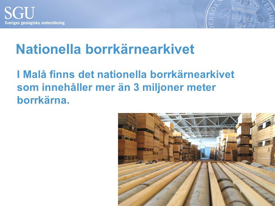 Nationella borrkärnearkivet I Malå finns det nationella borrkärnearkivet som innehåller mer än 3 miljoner meter borrkärna.