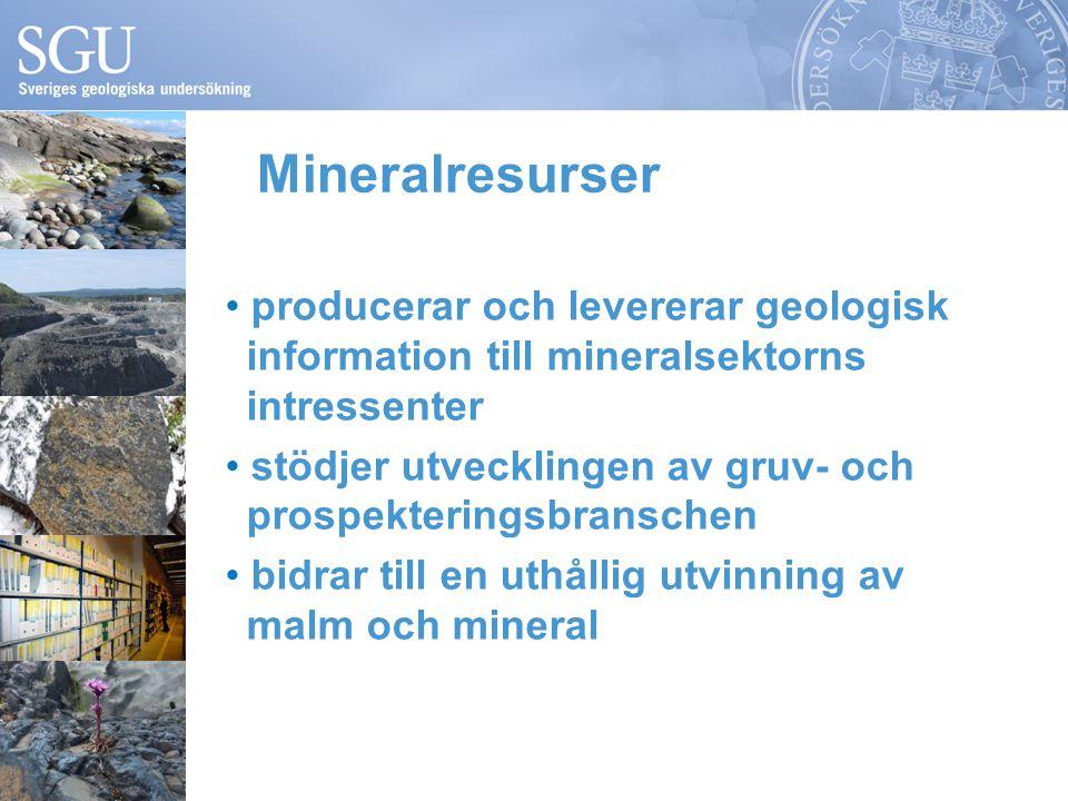 Mineralresurser producerar och levererar geologisk information till mineralsektorns intressenter stödjer utvecklingen av gruv- och prospekteringsbranschen bidrar till en uthållig utvinning av malm och mineral