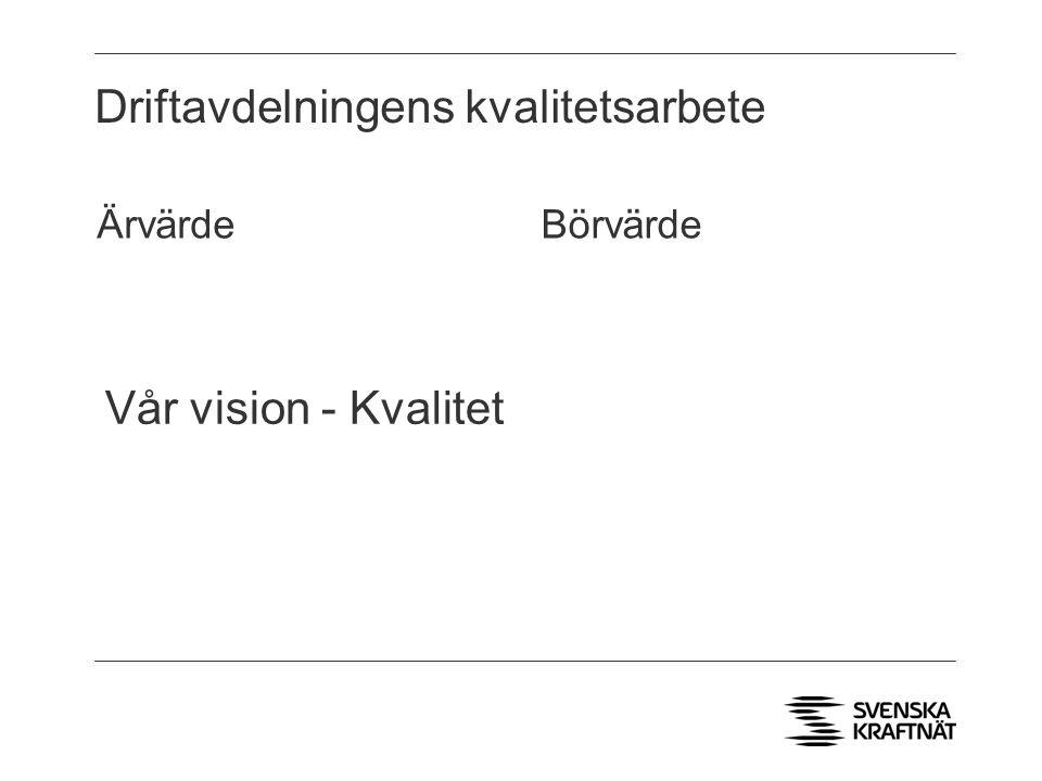 Driftavdelningens kvalitetsarbete BörvärdeÄrvärde Vår vision - Kvalitet