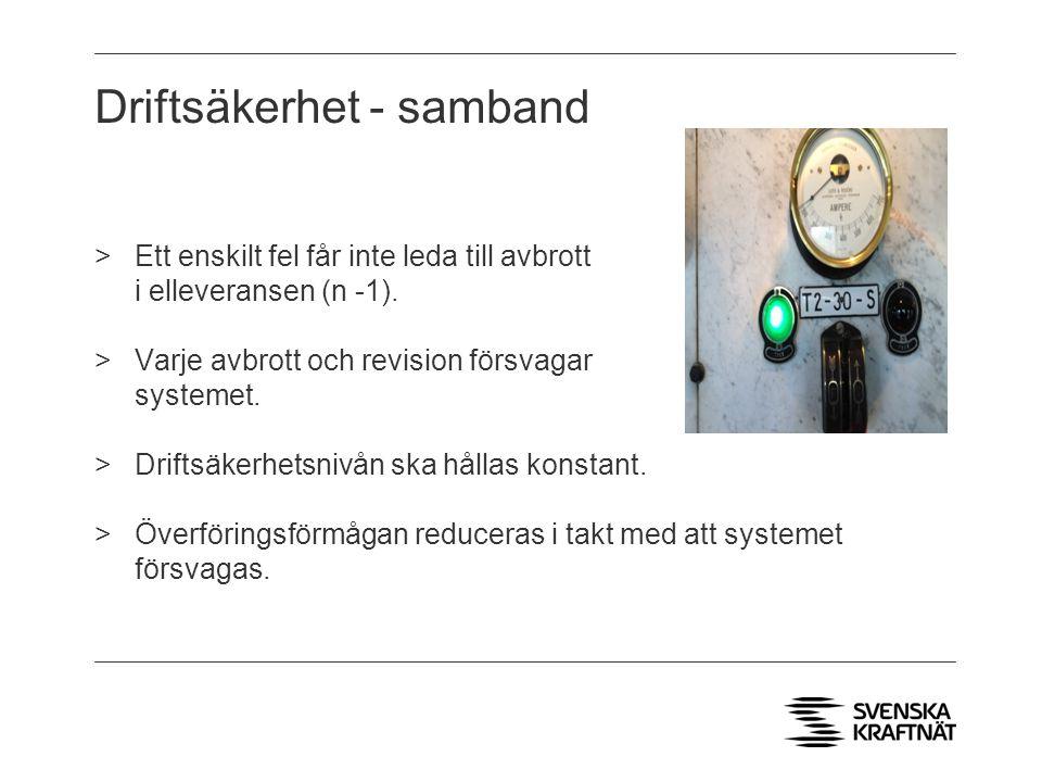 >Avbrott på en enskild ledning innebär: - att kraftsystemet försvagas.