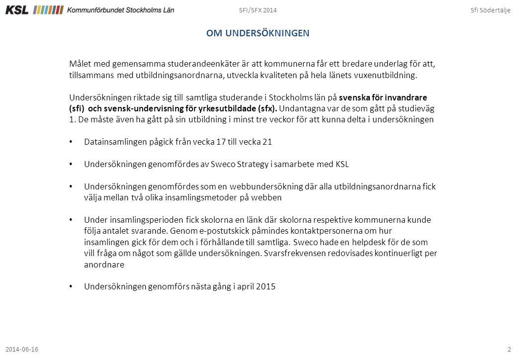 SFI/SFX 2014Sfi Södertälje 22014-06-16 OM UNDERSÖKNINGEN Målet med gemensamma studerandeenkäter är att kommunerna får ett bredare underlag för att, ti
