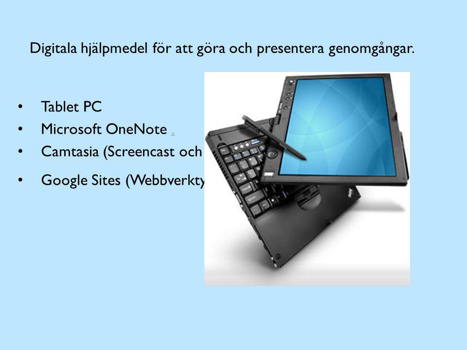 Digitala hjälpmedel för att göra och presentera genomgångar. Tablet PC Microsoft OneNote.. Camtasia (Screencast och redigering) Google Sites (Webbverk