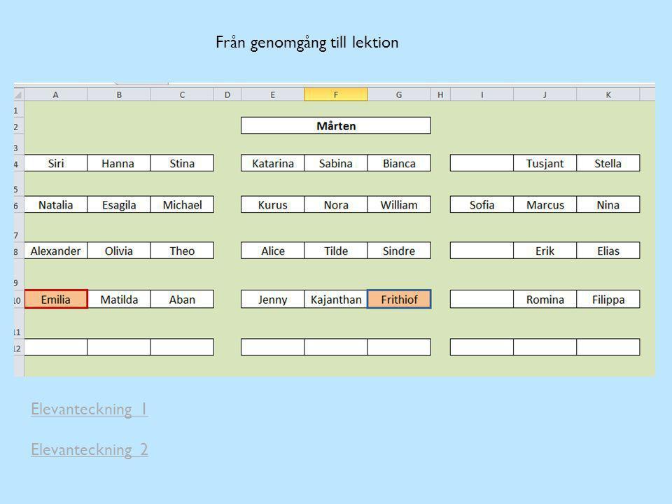 Från genomgång till lektion Elevanteckning 1 Elevanteckning 2