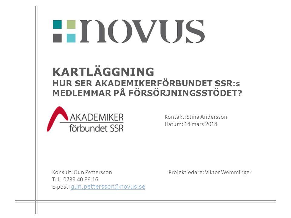 2 Bakgrund och syfte Bakgrund Novus har för Akademikerförbundet SSR:s räkning genomfört en kartläggning bland medlemmar inom IFO som är socialsekreterare, enhetschefer, IFO-chefer och socialchefer.