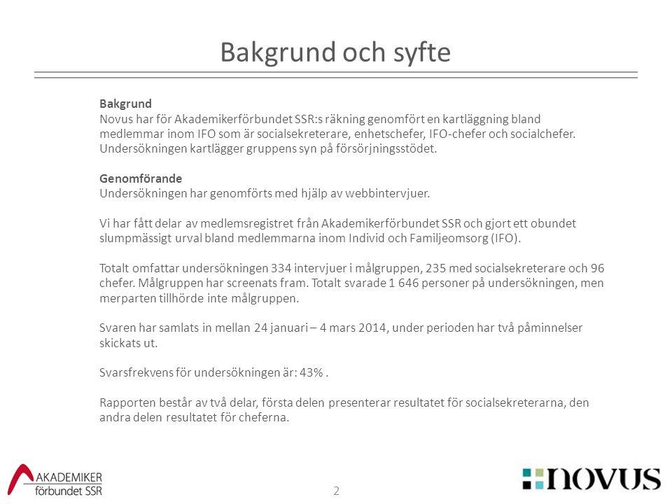 2 Bakgrund och syfte Bakgrund Novus har för Akademikerförbundet SSR:s räkning genomfört en kartläggning bland medlemmar inom IFO som är socialsekreter