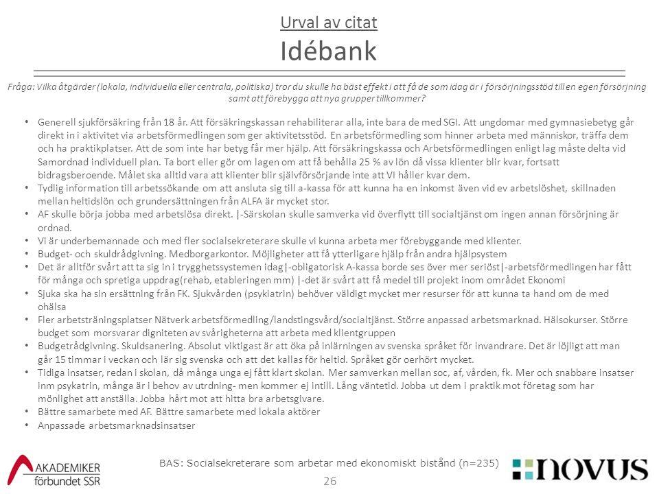 26 Urval av citat Idébank Fråga: Vilka åtgärder (lokala, individuella eller centrala, politiska) tror du skulle ha bäst effekt i att få de som idag är