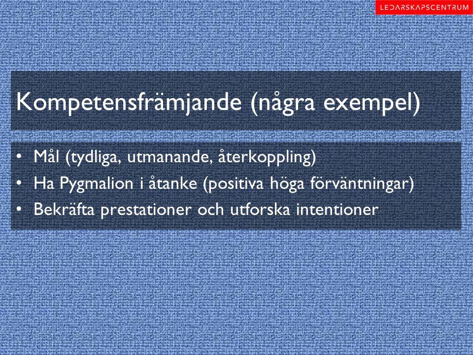 Kompetensfrämjande (några exempel) Mål (tydliga, utmanande, återkoppling) Ha Pygmalion i åtanke (positiva höga förväntningar) Bekräfta prestationer oc