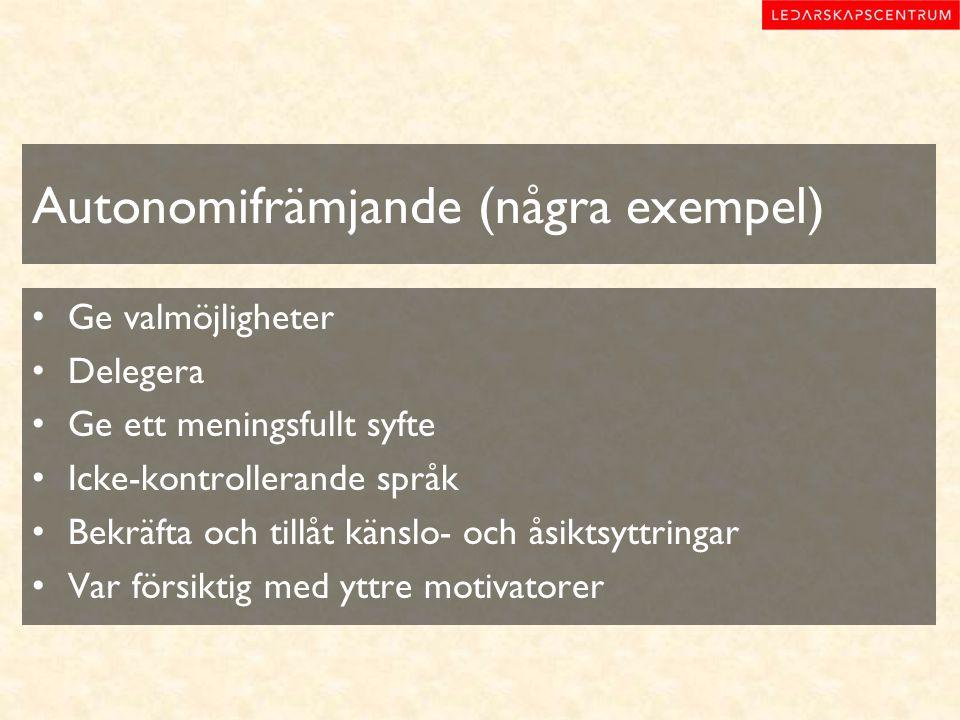 Autonomifrämjande (några exempel) Ge valmöjligheter Delegera Ge ett meningsfullt syfte Icke-kontrollerande språk Bekräfta och tillåt känslo- och åsikt