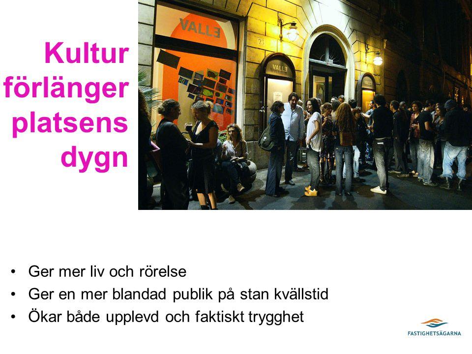 Ger mer liv och rörelse Ger en mer blandad publik på stan kvällstid Ökar både upplevd och faktiskt trygghet Kultur förlänger platsens dygn