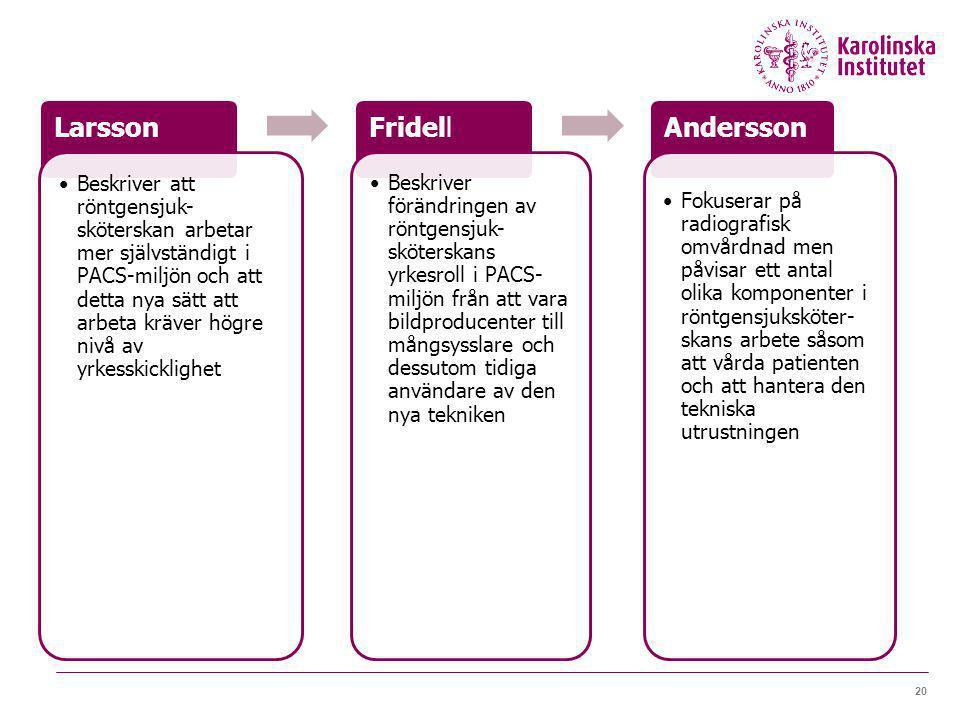 20 Larsson Beskriver att röntgensjuk- sköterskan arbetar mer självständigt i PACS-miljön och att detta nya sätt att arbeta kräver högre nivå av yrkess