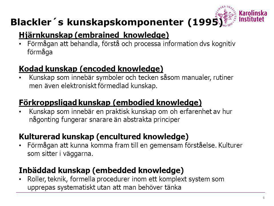 Blackler´s kunskapskomponenter (1995) 6 Hjärnkunskap (embrained knowledge) Förmågan att behandla, förstå och processa information dvs kognitiv förmåga Kodad kunskap (encoded knowledge) Kunskap som innebär symboler och tecken såsom manualer, rutiner men även elektroniskt förmedlad kunskap.
