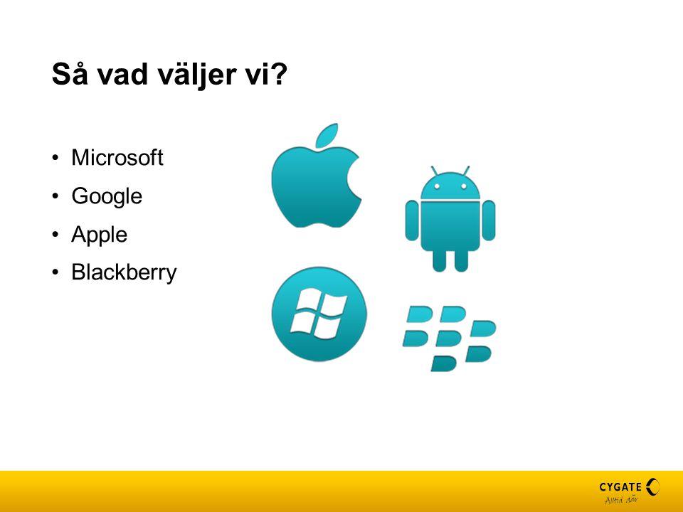 Så vad väljer vi? Microsoft Google Apple Blackberry