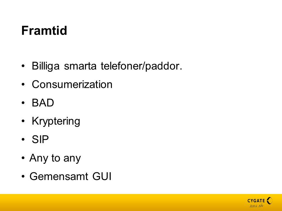 Framtid Billiga smarta telefoner/paddor. Consumerization BAD Kryptering SIP Any to any Gemensamt GUI
