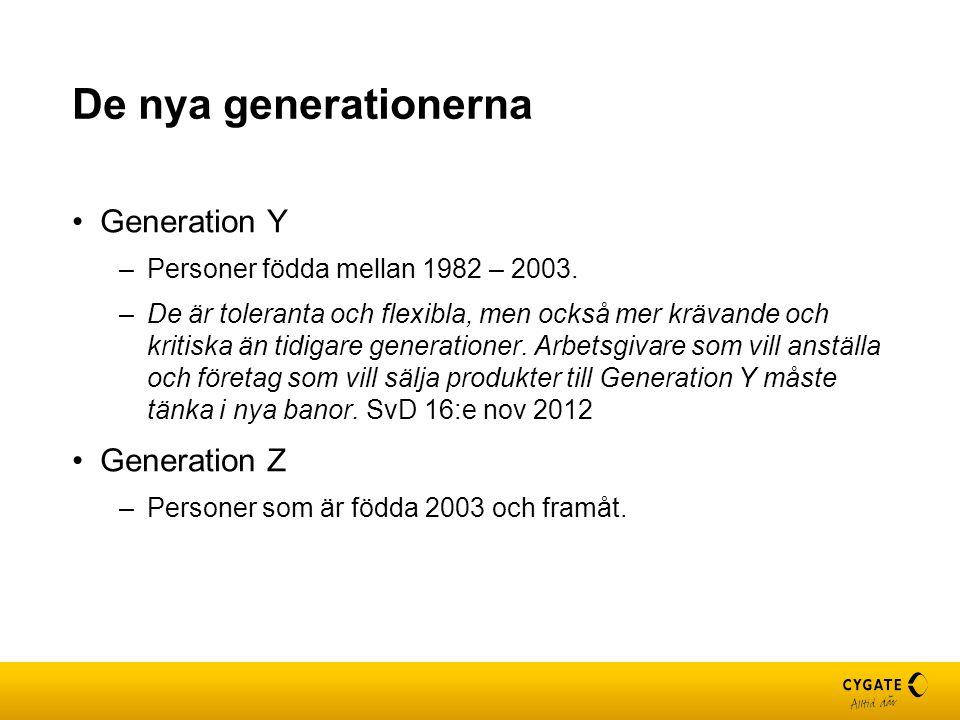 De nya generationerna Generation Y –Personer födda mellan 1982 – 2003. –De är toleranta och flexibla, men också mer krävande och kritiska än tidigare