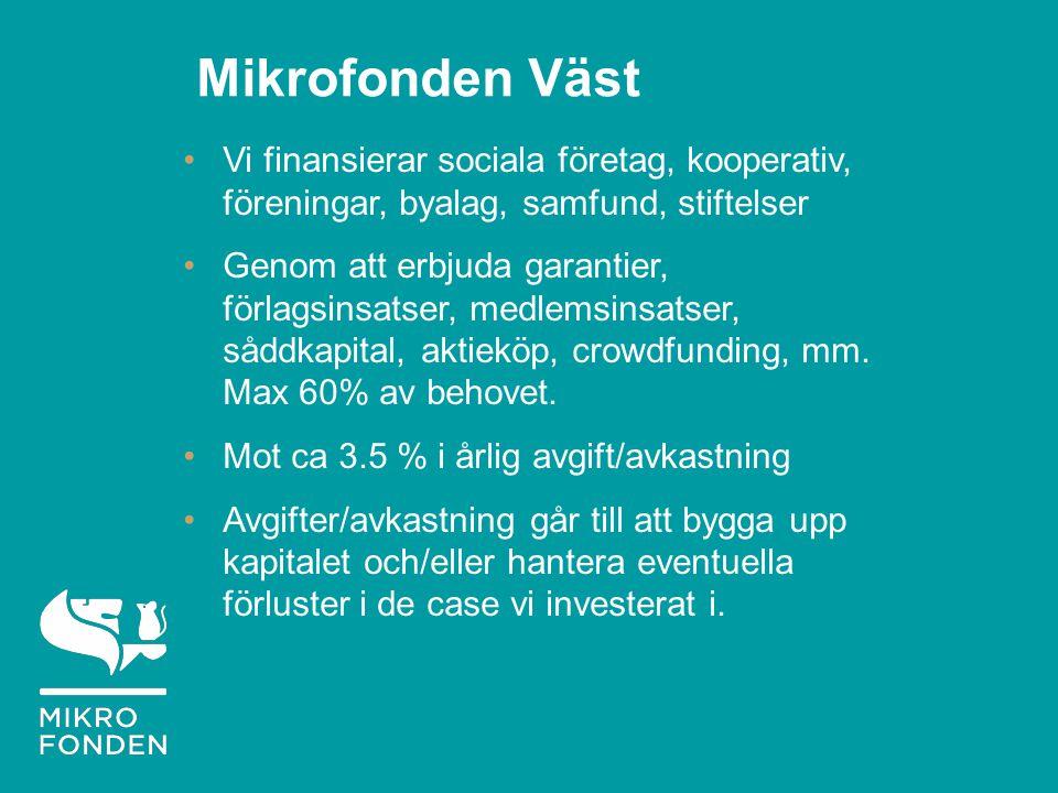 Mikrofonden Väst Vi finansierar sociala företag, kooperativ, föreningar, byalag, samfund, stiftelser Genom att erbjuda garantier, förlagsinsatser, medlemsinsatser, såddkapital, aktieköp, crowdfunding, mm.