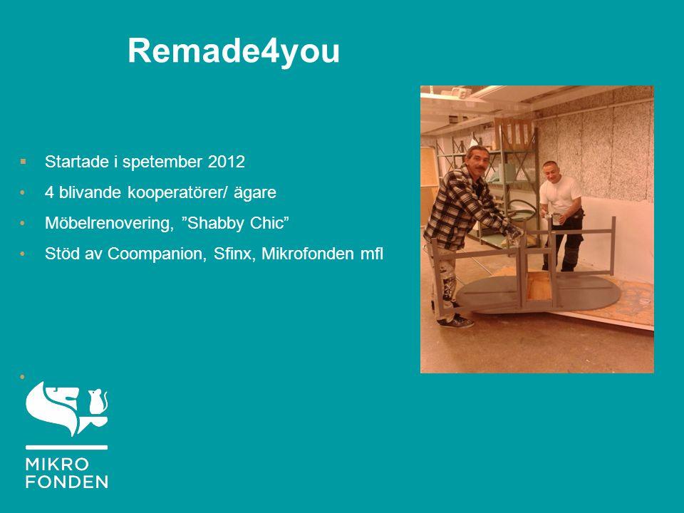 Remade4you  Startade i spetember 2012 4 blivande kooperatörer/ ägare Möbelrenovering, Shabby Chic Stöd av Coompanion, Sfinx, Mikrofonden mfl