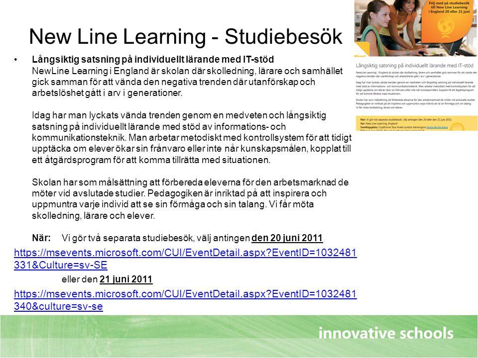 New Line Learning - Studiebesök Långsiktig satsning på individuellt lärande med IT-stöd NewLine Learning i England är skolan där skolledning, lärare o