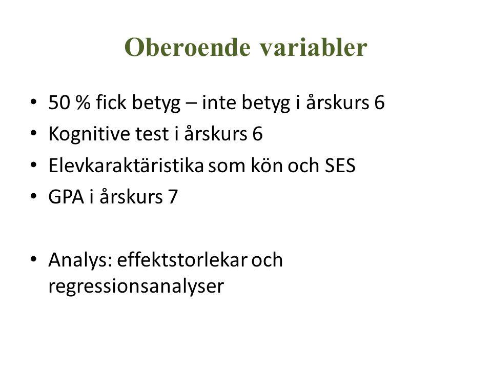 Oberoende variabler 50 % fick betyg – inte betyg i årskurs 6 Kognitive test i årskurs 6 Elevkaraktäristika som kön och SES GPA i årskurs 7 Analys: eff