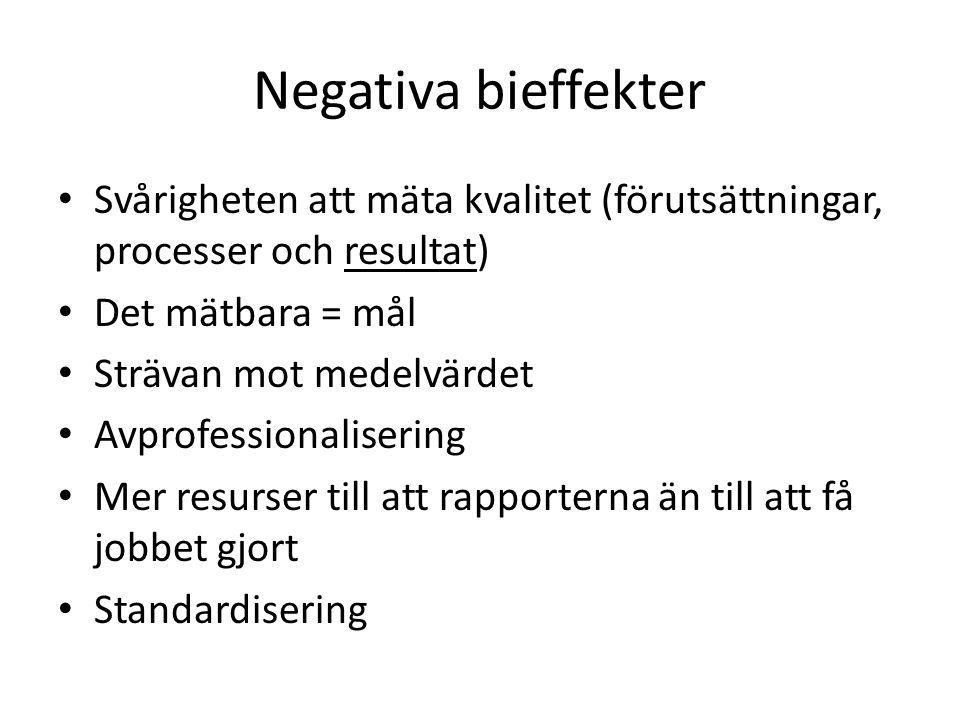 Negativa bieffekter Svårigheten att mäta kvalitet (förutsättningar, processer och resultat) Det mätbara = mål Strävan mot medelvärdet Avprofessionalis