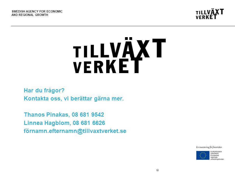 SWEDISH AGENCY FOR ECONOMIC AND REGIONAL GROWTH Har du frågor? Kontakta oss, vi berättar gärna mer. Thanos Pinakas, 08 681 9542 Linnea Hagblom, 08 681