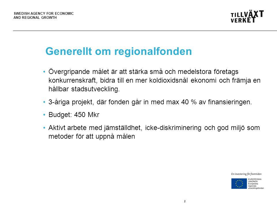 SWEDISH AGENCY FOR ECONOMIC AND REGIONAL GROWTH Generellt om regionalfonden Övergripande målet är att stärka små och medelstora företags konkurrenskra