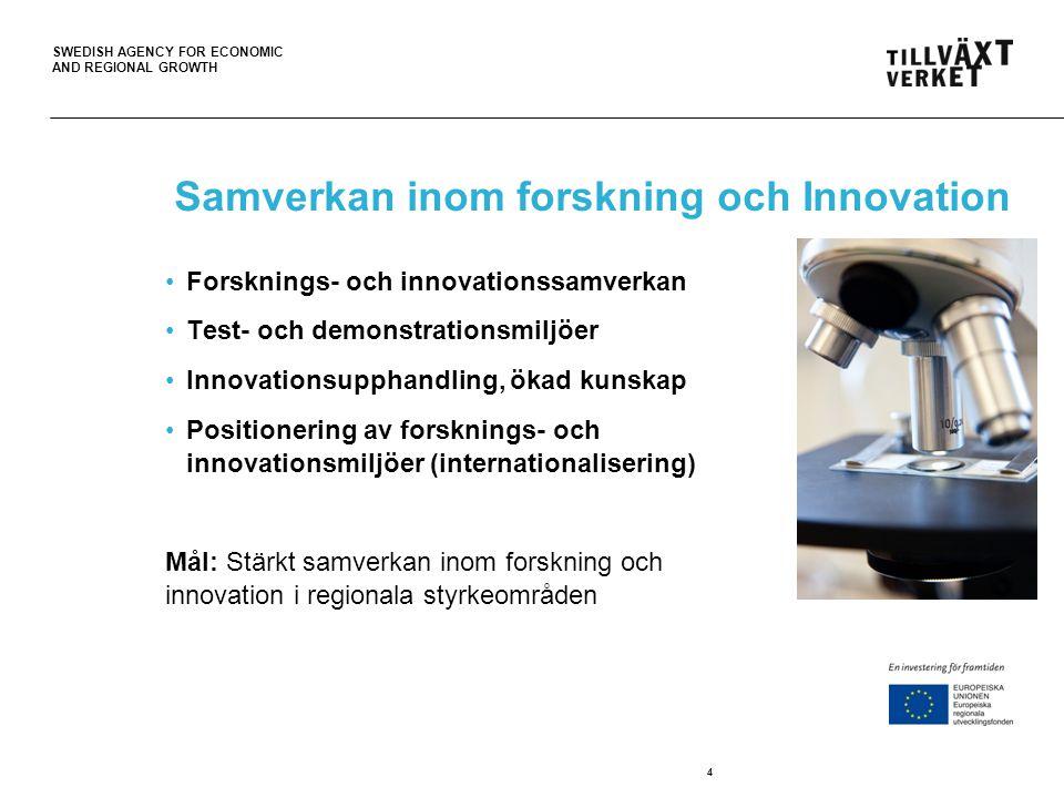 SWEDISH AGENCY FOR ECONOMIC AND REGIONAL GROWTH Innovation för en koldioxidsmål ekonomi Forsknings- och innovationssamverkan Test- och demonstrationsmiljöer Innovationsupphandling, ökad kunskap Innovations- och marknadsutveckling (internationalisering) 5 Mål: 1.Stärkt samverkan inom forskning och innovation… 2.Stärkt förmåga att utveckla och kommersialisera nya produkter, tjänster och lösningar… … som bidrar till en mer koldioxidsnål ekonomi.