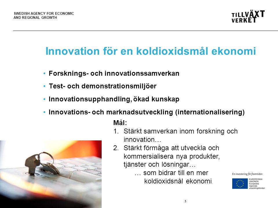 SWEDISH AGENCY FOR ECONOMIC AND REGIONAL GROWTH Innovation för en koldioxidsmål ekonomi Forsknings- och innovationssamverkan Test- och demonstrationsm