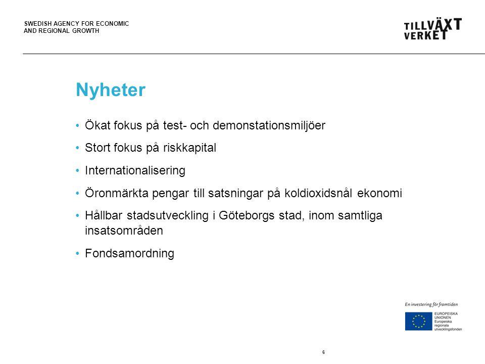 SWEDISH AGENCY FOR ECONOMIC AND REGIONAL GROWTH Nyheter Ökat fokus på test- och demonstationsmiljöer Stort fokus på riskkapital Internationalisering Ö