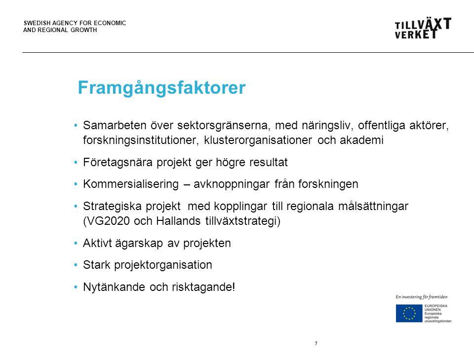 SWEDISH AGENCY FOR ECONOMIC AND REGIONAL GROWTH Framgångsfaktorer Samarbeten över sektorsgränserna, med näringsliv, offentliga aktörer, forskningsinst