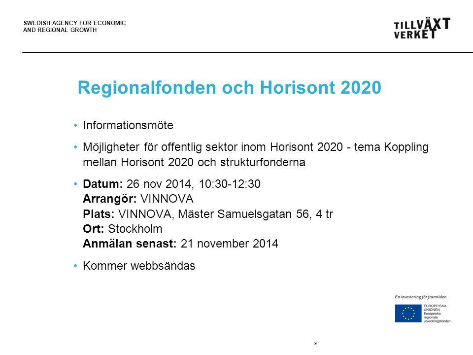 SWEDISH AGENCY FOR ECONOMIC AND REGIONAL GROWTH Regionalfonden och Horisont 2020 Informationsmöte Möjligheter för offentlig sektor inom Horisont 2020