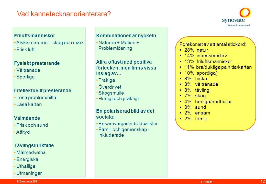 © Synovate 2011 12 S-119834 Vad kännetecknar orienterare? Förekomst av ett antal stickord: 28% natur 14% intresserad av… 13% friluftsmänniskor 11% bra