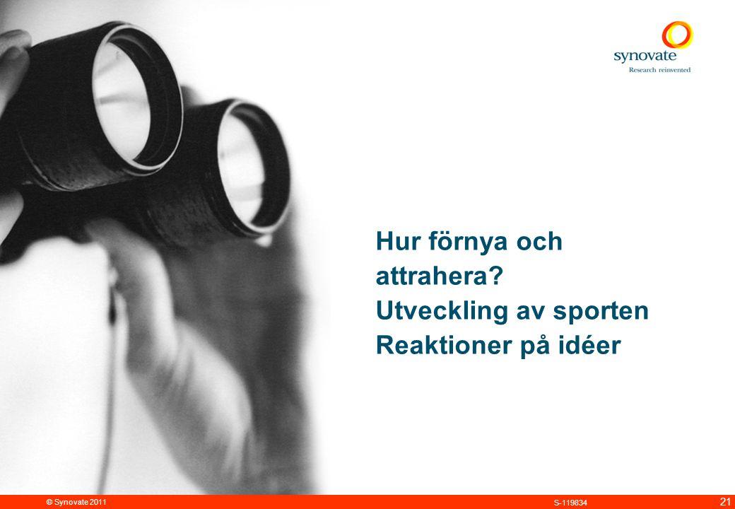 © Synovate 2011 21 S-119834 Hur förnya och attrahera Utveckling av sporten Reaktioner på idéer