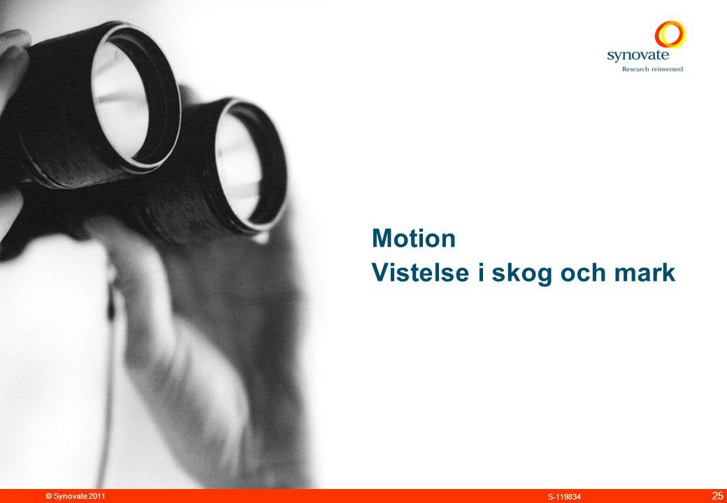 © Synovate 2011 25 S-119834 Motion Vistelse i skog och mark