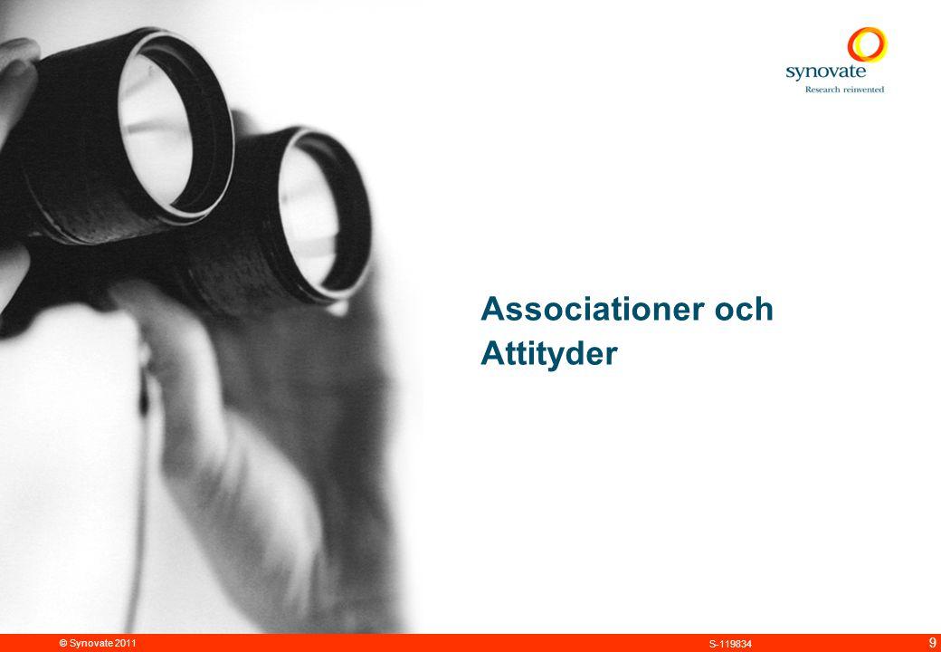 © Synovate 2011 9 S-119834 Associationer och Attityder