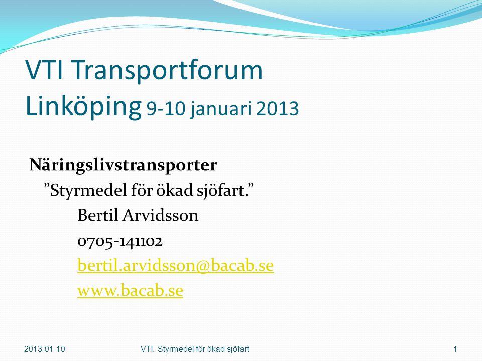 VTI Transportforum Linköping 9-10 januari 2013 Näringslivstransporter Styrmedel för ökad sjöfart. Bertil Arvidsson 0705-141102 bertil.arvidsson@bacab.se www.bacab.se 2013-01-10VTI.